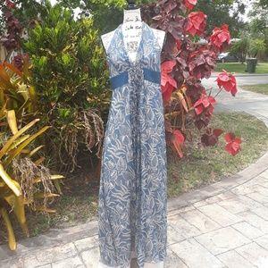 Bcbg Maxazria Sequined Silk  Halter Maxi Dress F14